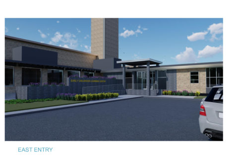 The proposed east entrance where parents will drop off their children for the Early Childhood Learning Center. (Photo courtesy of Mott Community College.)