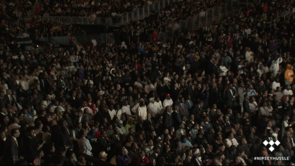 Thousands packed the Staples Center today to pay tribute to Nipsey Hussle.